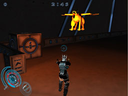 A Gryphon spitting fire at the player. Destructible boxes beside him